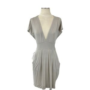 Aritzia- Wilfred Stretch Plunge Taupe Dress Med